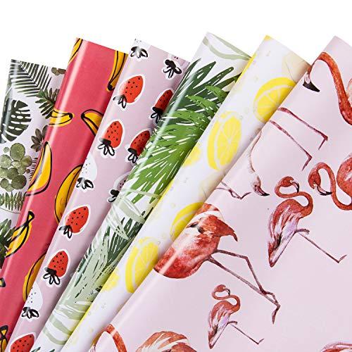 RUSPEPA Geschenkpapier Blatt - Flamingo/Pflanzen/Banane/Erdbeere/Zitrone/Blatt Sommer Design Für Geburtstag, Urlaub, Babyparty - 1 Rolle enthält 6 Blatt - 44.5 X 76 cm Pro Blatt