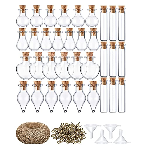 Mini Botellas de Cristal Frascos de Vidrio Tapon Corcho, Botellas Cristal Decoracion para Colgantes de Collares, Frascos de Perfume etc (C)