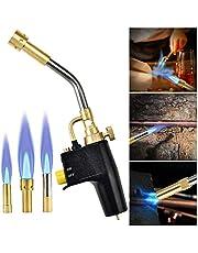 panthem MAPP Turbo Gasbrander Propaanbrander met 3 sproeiertips, multifunctionele trigger startfakkel met hete turbinevlam voor solderen en grillen (zonder gasfles)