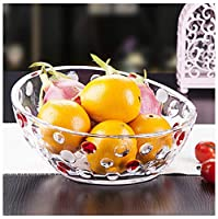 Y.H.Valuable フルーツバスケット ガラスのフルーツボウル、花の三本足のフルーツバスケット、フルーツプレート、サラダプレート、フルーツプレート、フルーツディスプレイスタンド、半円形 (色 : クリア, サイズ さいず : B)