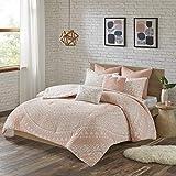 "Urban Habitat Larisa Comforter Reversible Stripes 100% Cotton Shell Hand-Drawn Geometric Shape Print Soft Down Alternative Hypoallergenic All Season Bedding-Set, Full/Queen(88""x92""), Medallion Blush"