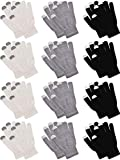 Pangda 12 Pairs Touchscreen Gloves Stretch Knitted Texting Gloves Warm Windproof Solid Color Mittens For men and Women (Black, Milky White, Grey)
