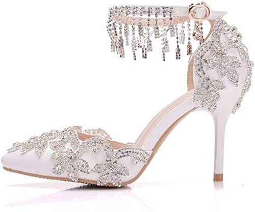 Peep Toe Tacon Ancho Correa De Tobillo Boda zapatos,Sandalias De mujer zapatos De Damas Cristal Brillante Noche Nupcial Boda Fiesta Prom Tacones Altos Tamaño 3-8