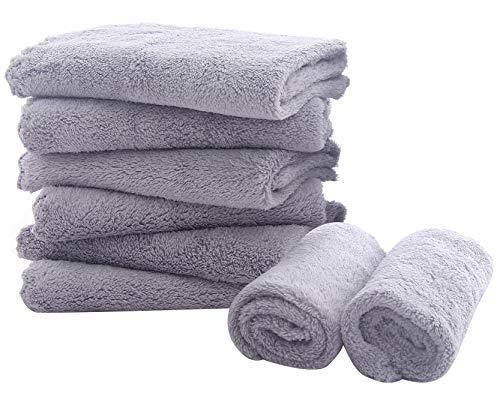 8 Pack Large Burp Cloths for Baby – 20″ by 10″ Ultra Absorbent Burping Cloth, Hand Washcloths, Newborn Towel – Milk Spit Up Rags – Burpy Bib for Unisex, Boy, Girl – Burp Cloths Set(White)