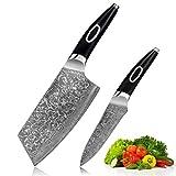 Juego de Cuchillos 6.5 pulgadas cuchillos cuchillos japonés damasco acero chef cuchillo 67 capa sld núcleo chino chino cocina verduras hueso cuchillo Juego de Cuchillos (Color : 2 Pieces Knife set)
