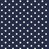 babrause® Baumwollstoff Punkte Navy Blau Webware Meterware