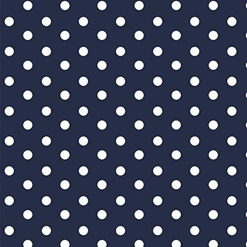 babrause® Baumwollstoff Punkte Navy Blau Webware Meterware Popeline OEKOTEX 150cm breit - Ab 0,5 Meter
