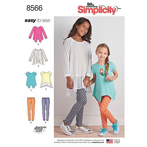 Simplicity 8566Simplicity patroon 8566 kinderen & meisjes tunieken & leggings, papier, wit, HH (34-5-6)