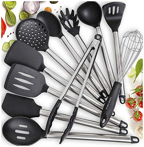 Home Hero 11 Silicone Cooking Utensils Kitchen Utensil Set  Stainless Steel Silicone Kitchen Utensils Set  Silicone Utensil Set Spatula Set  Silicone Utensils Cooking Utensil Set Salad Tongs