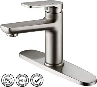 Bathroom Faucet,HMEGAO Single Handle Single Hole or 3 Holes Bathroom Sink Faucet Brushed Nickel with cUPC Supply Hose,10 Inch Deck Plate,NEOPERL Bubbler and Lead-free Copper Vanity