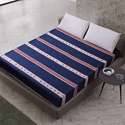 DSman Protector de colchón de Rizo algodón y Transpirable Impresión de sábanas a Prueba de Agua y a Prueba de polvo-32_180cmX200cmX30cm