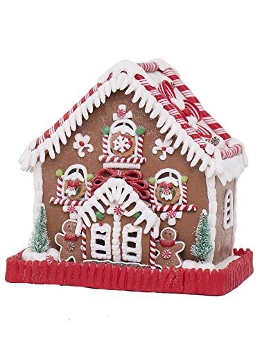 """Vita Domi 9"""" Peppermint Gingerbread Lighted House Batter Operated (VTD-RZ-4016275)"""