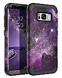 BENTOBEN Case for Galaxy S8 5.8', Space Nebula Heavy Duty Full Body Rugged Shockproof Hybrid Three Layer Hard PC Soft Rubber Bumper Protective Phone Case for Samsung Galaxy S8 5.8', Purple Nebula