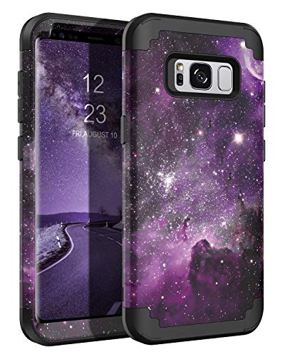 BENTOBEN Case for Galaxy S8 5.8', Space Nebula Heavy Duty Full Body Rugged Shockproof Hybrid Three Layer Hard PC Soft Rubber Bumper Protective Phone Case for Samsung Galaxy S8 5.8', Purple Nebula