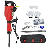 Smartxchoices 2200W Electric Demolition Jack Hammer Drill Heavy Duty Concrete Breaker 2 Chisel 2 Punch Bundle Tool Kit with Case, Gloves