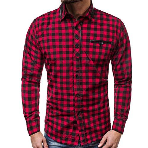 serliy😛Herren Karohemd Kariert Hemd Slim Fit Trachtenhemd Super Modern super Qualität fürs Oktoberfest geeignet Flanellhemd mit Brusttaschen Langarmhemd