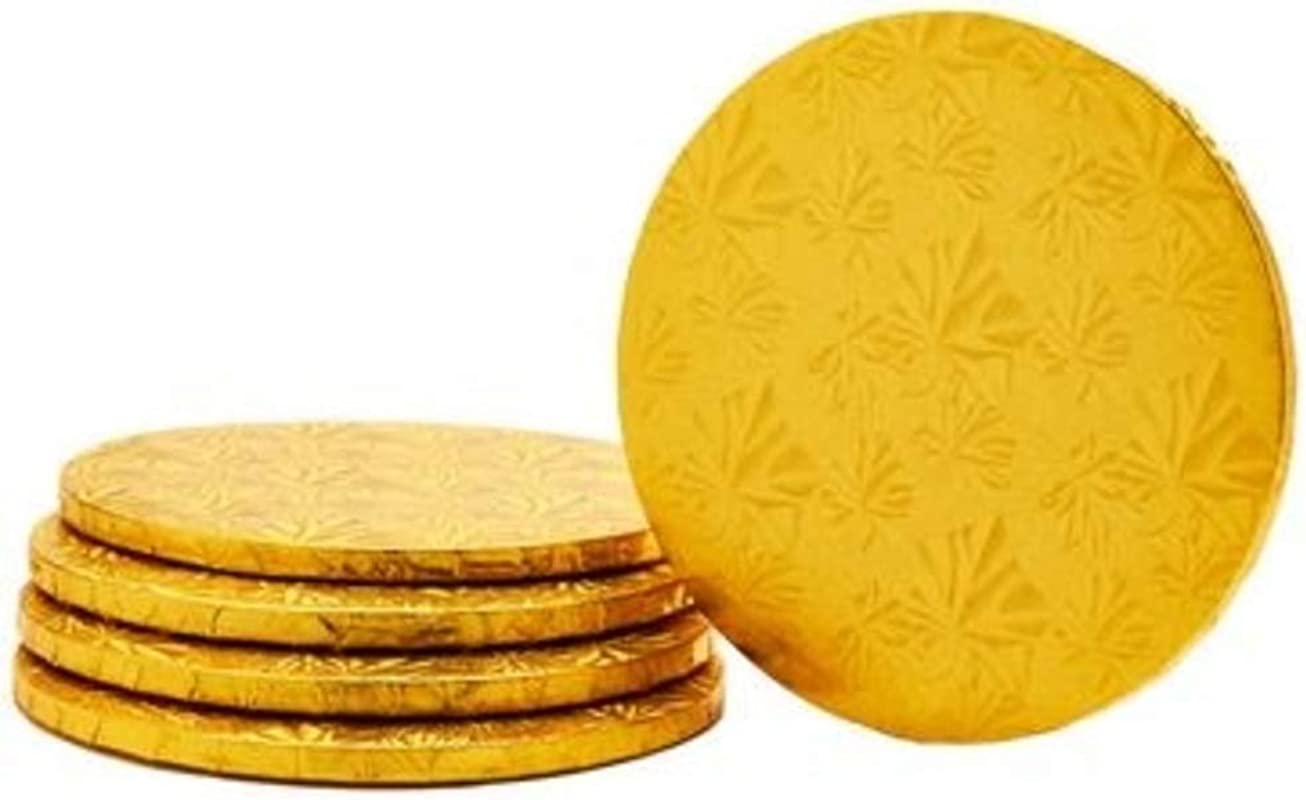 FOIL COVERED CAKE BOARD 14 5PC PACK GOLD