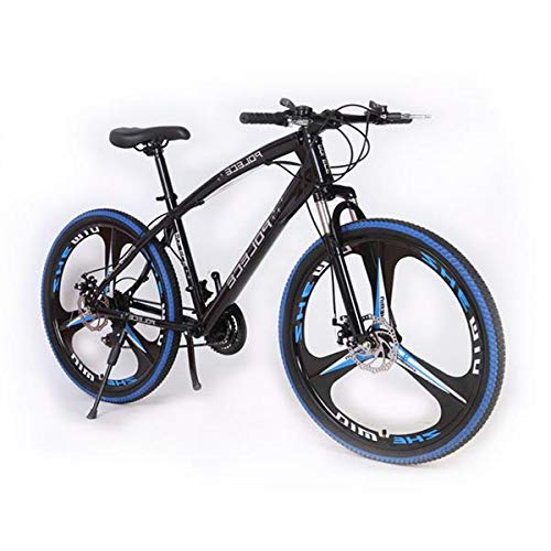 26 inch Mens Mountain Bike for Adults, Aluminum Frame, Twist Shifters, 21-Speed Rear Deraileur, Front and Rear Disc Brakes, Multiple Colors (Black&Blue)