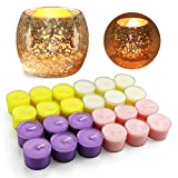 Candles for Home Scented Aromatherapy Birthday Gifts Pets Tea Lights Candle Sets Portable Natural Fragrance Spices Soybean Wax Golden Candle Holders Ice Fragments 4 Fragrances 24 Packs 8H Lasting