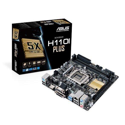 Asus H110I-Plus Mainboard Sockel 1151 (Mini-ITX, Intel H110, 2x DDR4 Speicher, 4x SATA 6Gb/s, 2x USB 3.0, 4x USB 2.0, PCIe 3.0)