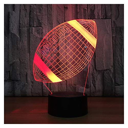 YZL 3D LED Night Light, Light Children's Rugby 7 Colors Touch Button 16 Colors Night Light, USB Wired Decorative Table Lamp, Christmas and Easter Gifts (Size : Touch 7 colors)