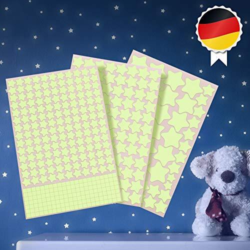 Paraboo Leuchtsterne, Leuchtpunkte - 452 Aufkleber selbstklebend, Fluoreszierende Leuchtsticker für deinen Sternenhimmel, Leuchtende Sterne Kinderzimmer