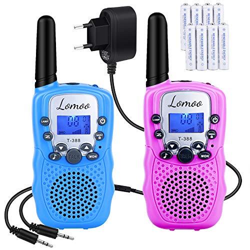 Walkie Talkie Recargable, Lomoo Radio Bidireccional con Rango de Larga Distancia Interphone de 8 Canales para Comunicación en el Hogar/Festival (1 Par, Azul y Rosa)