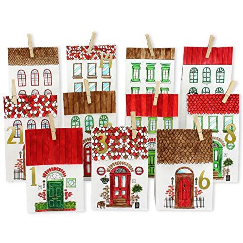Papierdrachen DIY, Set Calendario dell'Avvento in carta kraft – Casette da colorare – con 24 sacchetti di carta marrone stampati, da colorare e da riempire