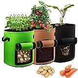 JahyElec Macetero Bolsa Planta 3 Pack 7 Galones, con Ventana para y Asas en Jardin para Papa Plantas Vegetales Aptas para Plantas de Patata, Zanahorias, Tomates, Cebollas y Otros
