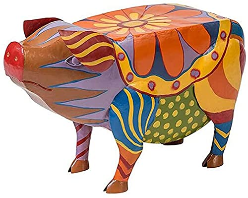 Colorful Folk Art Pig Patio Side Table, Coffee Table Outdoor, Pig Side Table for Garden Courtyard Landscape, Art Pig Animal Resin Statues Table for Garden Courtyard Landscape (Large)