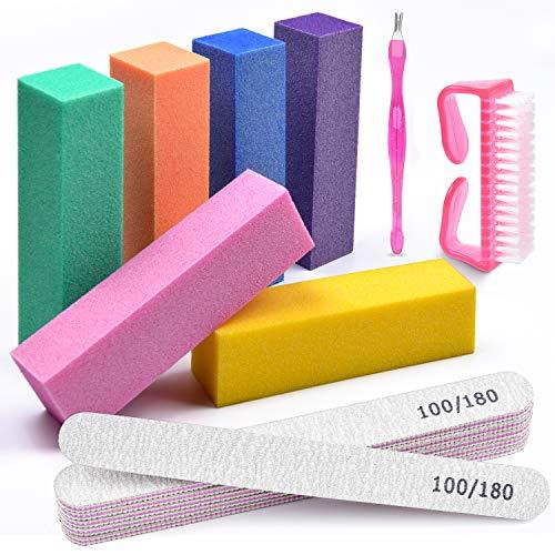 Nail File and Buffers,TsMADDTs Professional Manicure Tools Buffers Block Tools 100/180 Grit Nail Scrubbing Brush Cuticle Knife14pcs/pa