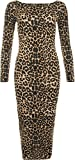 WearAll - Leopardo del Estampado De Animales De Manga Larga Stretch Bodycon Vestido De Midi - Marrón - 40-42