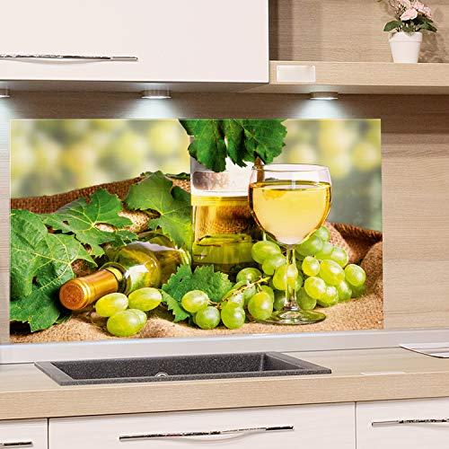GRAZDesign Küchenrückwand Wein Grün - Spritzschutz Küche Glas Herd - Glasbild als Wandschutz / 100x60cm