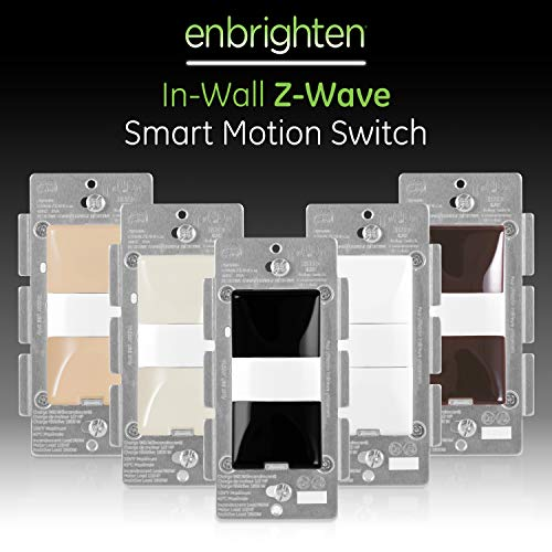 GE 35547 Enbrighten Z-Wave Plus Smart Motion Light Switch, Works with Alexa, Google Assistant, SmartThings, Zwave Hub Required, Repeater/Range Extender, 3-Way Ready 1st Gen, Black