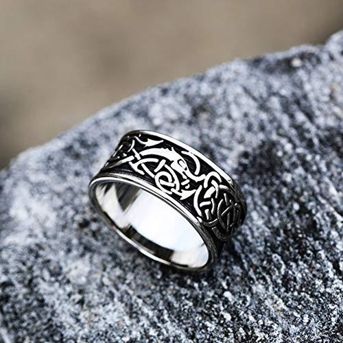 Serired Anillos Símbolo Odin Vikingos Acero Inoxidable para Hombre, Amuleto Runas de Dragón Celta Nórdico Pagano Unisex, Tamaño 7-13,Celtic Dragon,10
