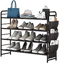 Shoe Rack Storage Organizer 4 Tier Free Standing with Side Bag for Entryway, Hallway, Closet,Bedroom,Living Room (4-Tier, Bronze)