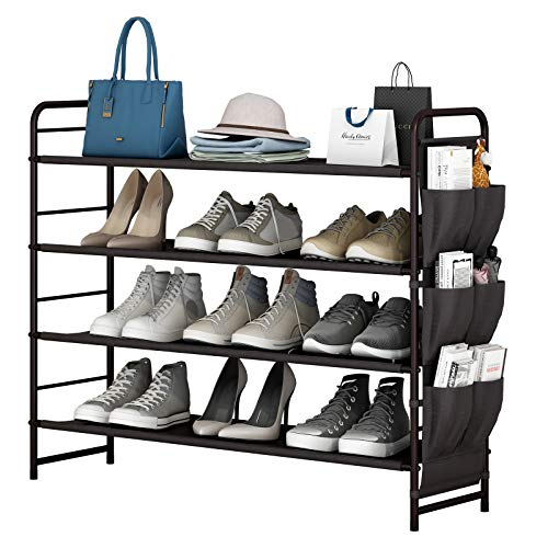 Shoe Rack Storage Organizer 4 Tier Free Standing with Side Bag for Entryway Hallway ClosetBedroom,Living Room 4-Tier Bronze3