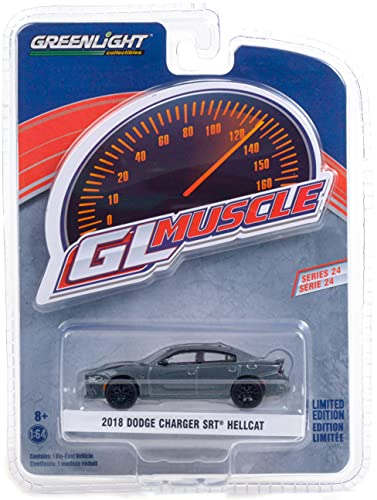 2018 Dodge Charger SRT Hellcat Granite Crystal Gray Met. with Black Stripes Greenlight Muscle Series 24 1/64 Diecast Model Car by Greenlight 13290 D