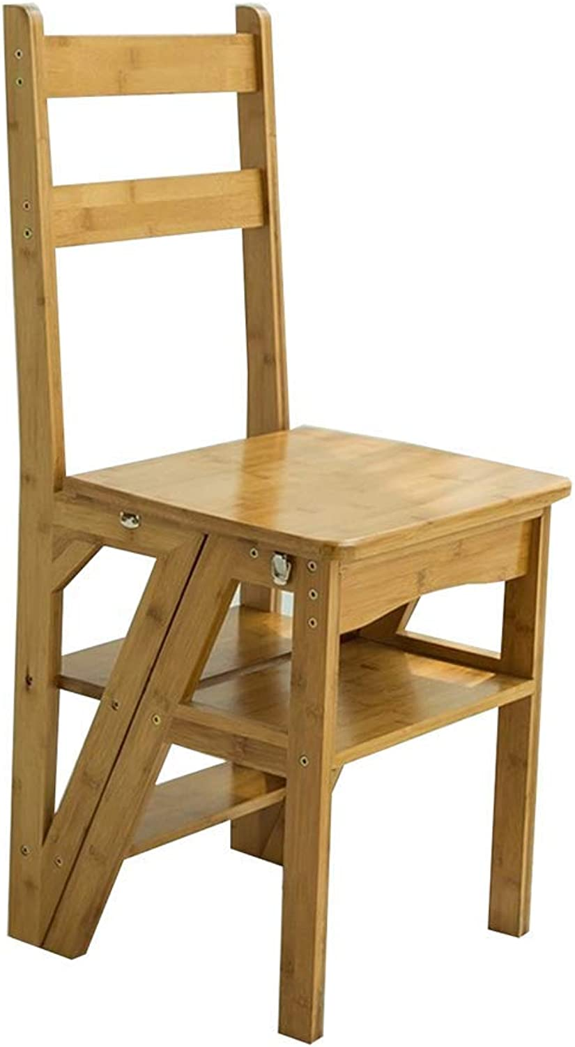 Qivor Step Stool, Multi-function Household Folding Ladder Vintage Creative Chair Solid Wood Step Stool (color    2)