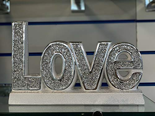 SILVER 'LOVE' CRUSHED DIAMONDS SPARKLE ORNAMENT, LOVELY DISPLAY HOME DÉCOR Words Sign Free Standing Love Desk/Shelf/Home Wall/Office Decoration Art