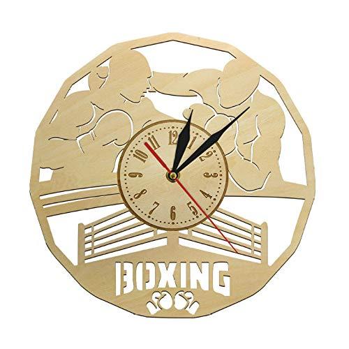Djkaa Boxershorts Men Wandklok stille decoratieve wandklok huishousewarming accessoires boxen gym fighting art wanddecoratie geschenk voor mannen (12 inch)