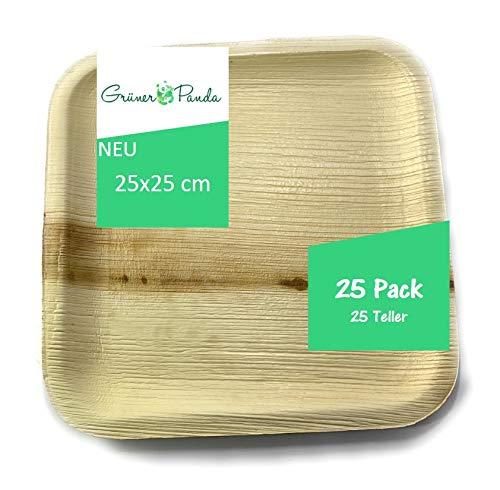 Grüner Panda Palmblatt Teller 25 Stück eckig 25x25cm| Bio Einweggeschirr Palmblattgeschirr | 100% biologisch abbaubar Wegwerfgeschirr| umweltfreundlich Partygeschirr Einwegteller stabil Einmalgeschirr