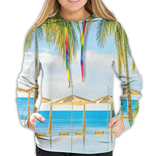 Women's Hoodies Tops,Exotic Beach with Pool Nature with Soft Sun Rays Fantastic Holiday Theme Print,Lady Fashion Casual Sweatshirt(L)