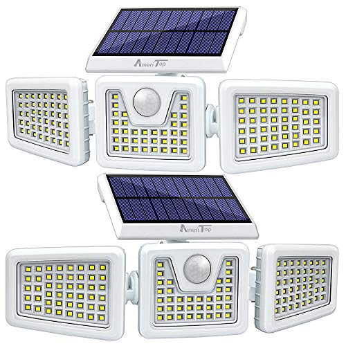 Solar Lights Outdoor -2 Pack, AmeriTop 800LM Wireless 128 LED Solar Motion Sensor Lights Outdoor; 3 Adjustable Heads, 270° Wide Angle Illumination, IP65 Waterproof, Security LED Flood Light (Daylight)