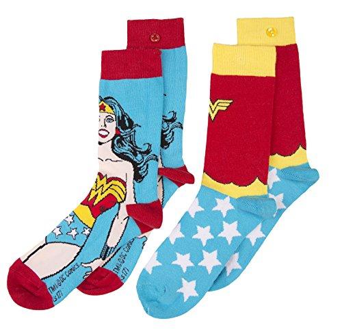 U Wear Ltd Wonderwoman Socken im Zweierpack im Retrolook Wonder Woman