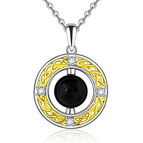 Black Obsidian Necklace Double Circle Necklaces S925 Sterling Silver for Women 14k Gold Plated Celtic Knot Pendant Irish Jewelry