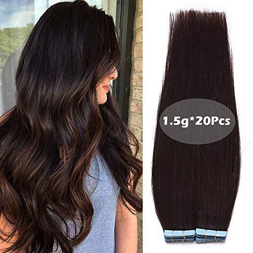 Haarteile Echthaar Tape in Extensions Echthaar Klebe Haarverlängerung Glatt Weich Haarteil 100% Human Hair 20Pcs 30 Gramm 55cm 02# Dunkelbraun