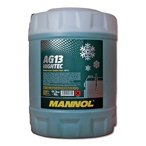 MANNOL 1 x 10L AG13 Antifreeze/Kühlerfrostschutz -40 Grad Ready-Mix Grün