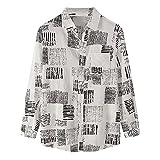 URIBAKY - Camisa informal de manga larga y cuello soldado para hombre, talla grande, blanco, XL