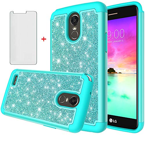 Asuwish Phone Case for LG Stylo 3 and Stylo3 Plus with Tempered Glass Screen Protector Cover Cell Accessories Bling Glitter Heavy Duty Hybrid Protective LGstylo3 3+ Stylus 3 LS777 LGL84VL L84VL Women